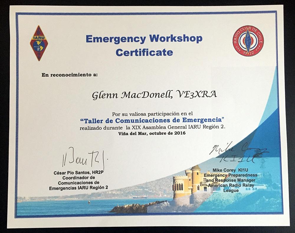 Emergency Workshop Certificate at IARU Region 2 meeting