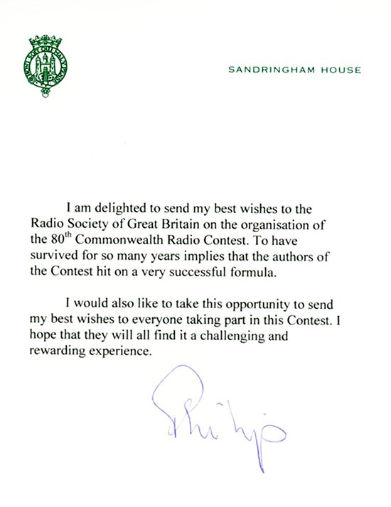 Letter of congratulations from Prince Philip to the Radio Society of Great Britain on the 80th Commonwealth Contest