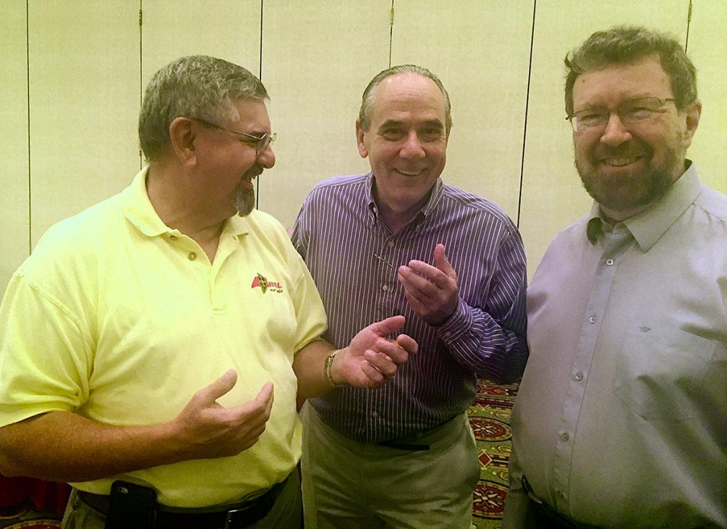 From left: Chris Imlay, W3KD (ARRL General Counsel), Tom Gallagher, NY2RF (ARRL Chief Executive Officer) and Glenn MacDonell, VE3XRA (RAC President)