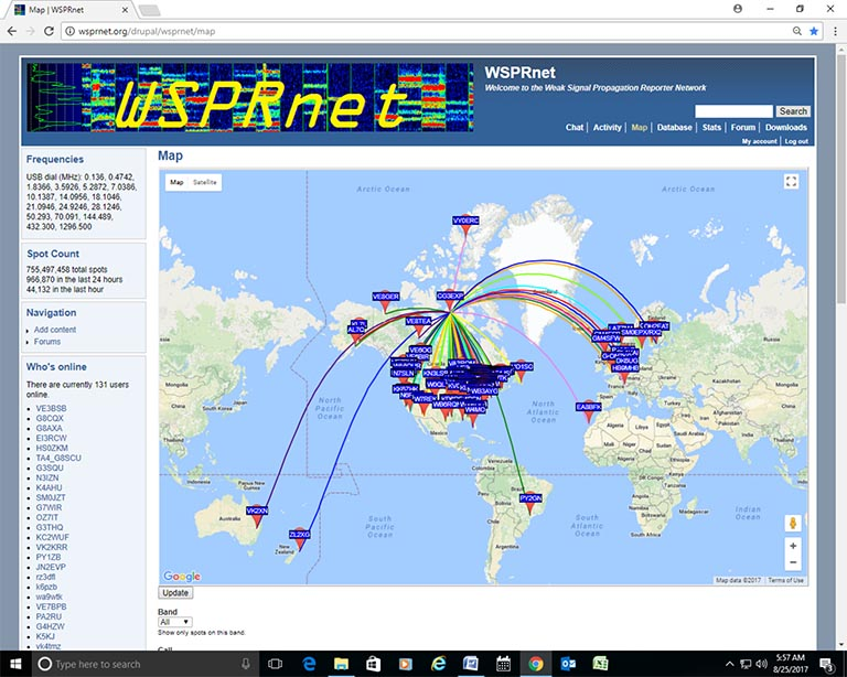 WSPRnet for the Polar Prince CG3EXP as of August 25