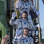 Expedition 52 flight engineer Randy Bresnik of NASA (top), flight engineer Paolo Nespoli,IZ0JPA of European Space Agency (middle), and flight engineer Sergei Ryazanskiy of Roscosmos (bottom). Photo Credit: (NASA/Joel Kowsky)