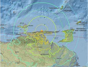Map of Venezuela showing Earthquake zone