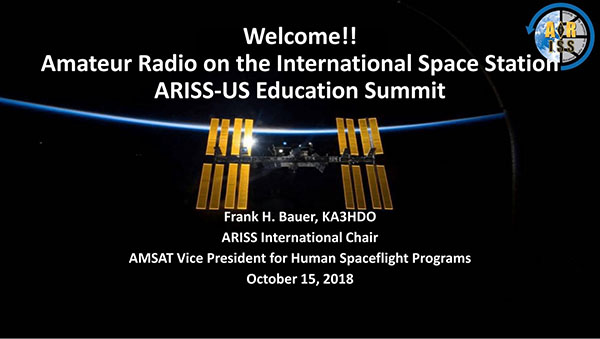 Opening slide at ARISS Education Summit