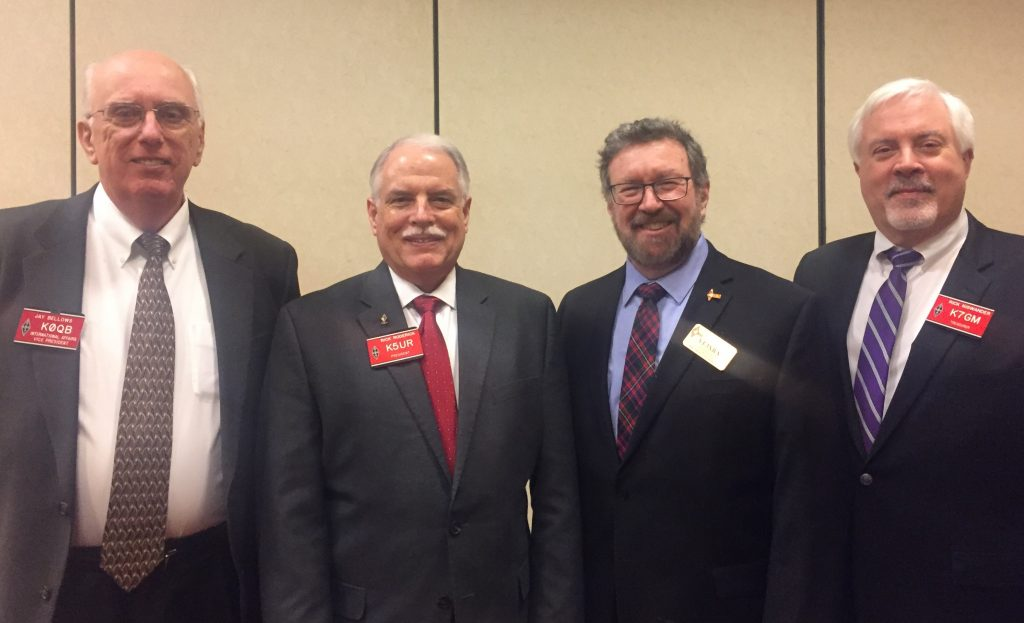 From left: L to R Jay Bellows, K0QB (ARRL International Affairs Vice-President), Rick Roderick, K5UR (ARRL President), Glenn MacDonell, VE3XRA (RAC President) and Rick Niswander, K7GM (ARRL Treasurer) at the ARRL Board Meeting.