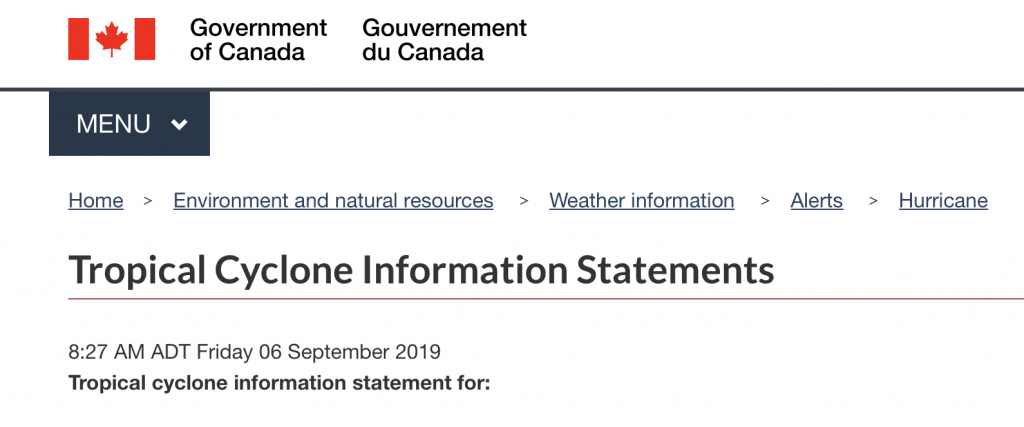 Screenshot of Environment Canada's Tropical Cyclone Information Statement