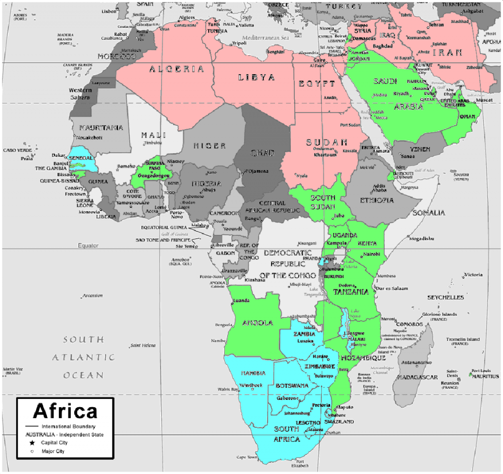 Map of Africa showing 6 metres