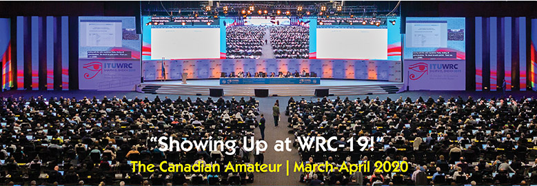 "Front cover of March-April 2020 TCA: ""Showing up at WRC-19"""