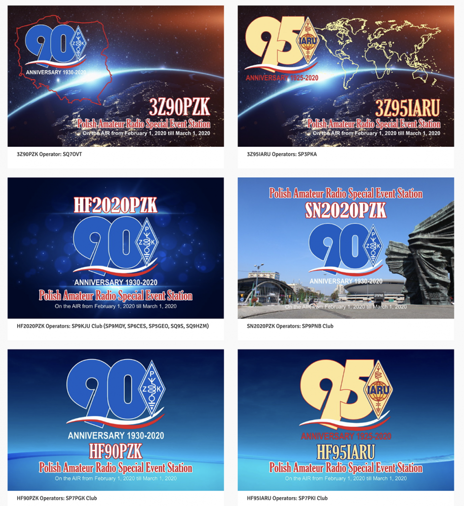 PZK QSL cards 90th Anniversary