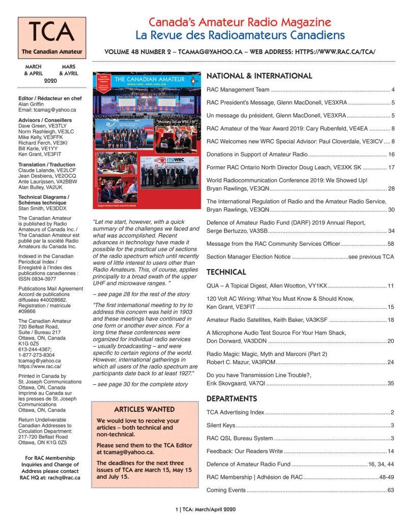 March-April 2020 TCA Table of Contents