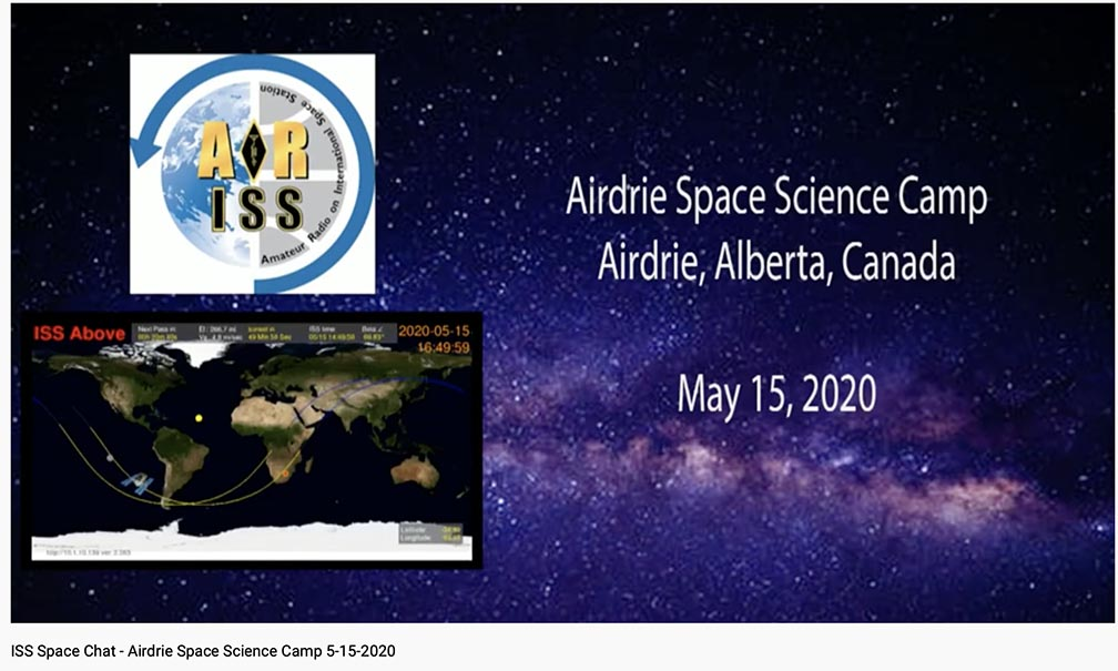 YouTube video of ARISS contact with Airdrie Science Space Camp