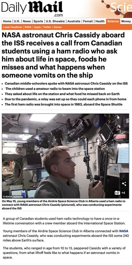UK Daily Mail ISS Video