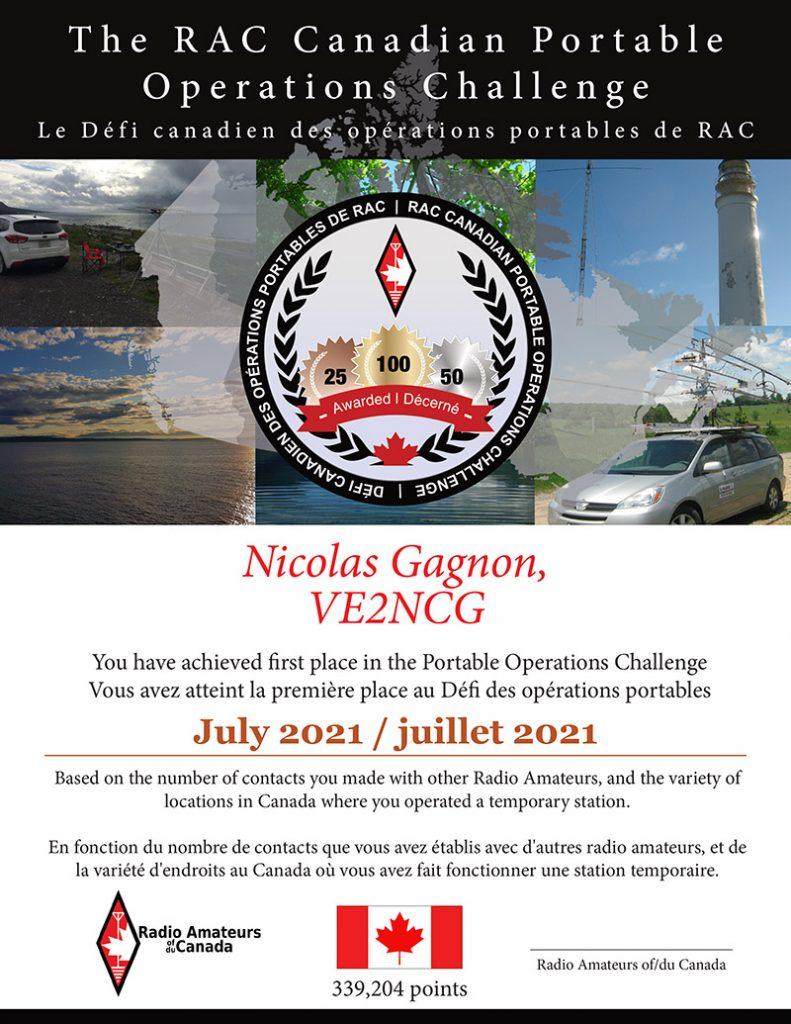 RAC Challenge Certificate for July 2021 Winners