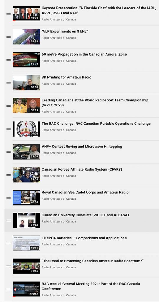 RAC YouTube Channel showing Conference Presentations